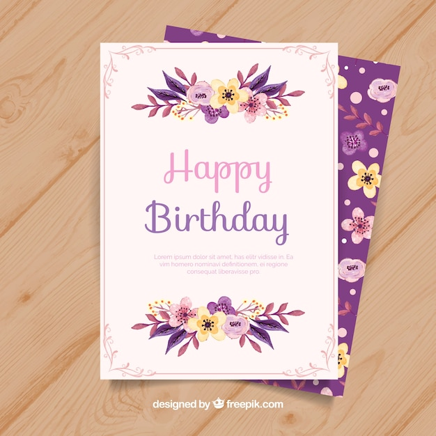 Happy birthday card with flowers in watercolor\ style