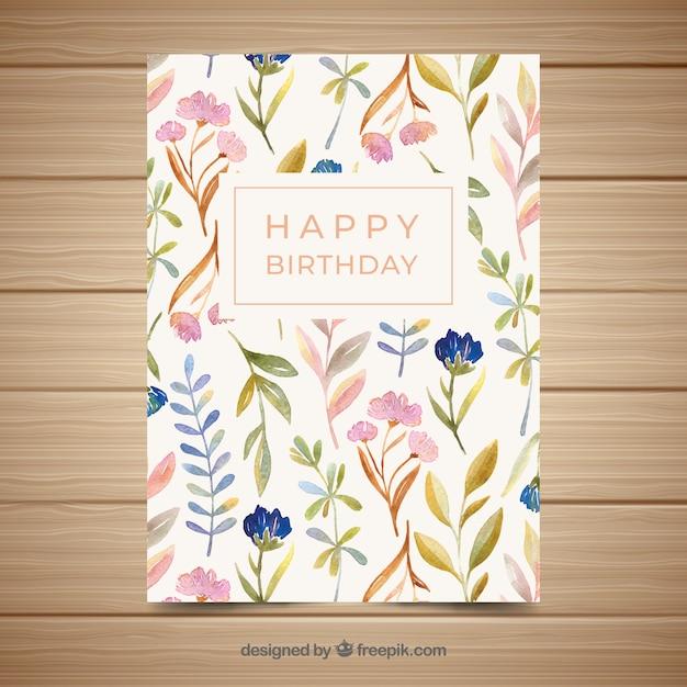 watercolour style 2 rabbit card 5x7 inch birthday