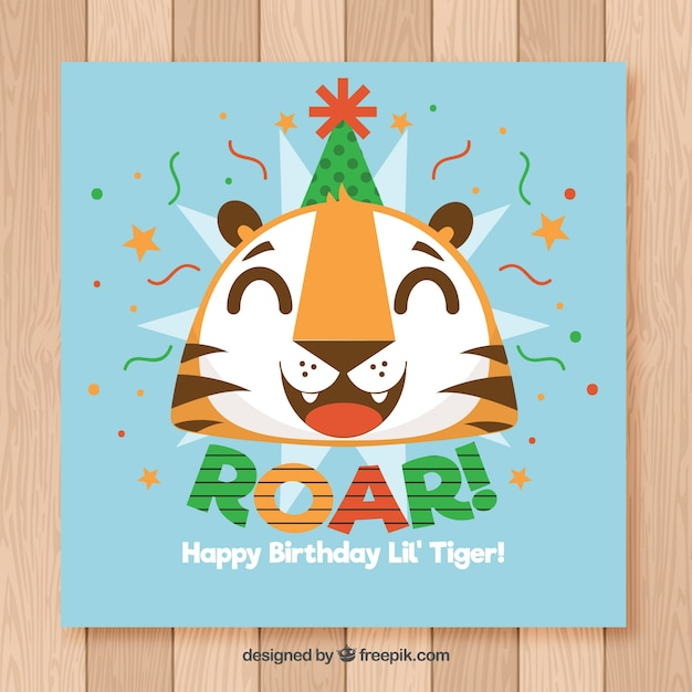 Happy Birthday Card With Funny Tiger In Flat Style Vector Free