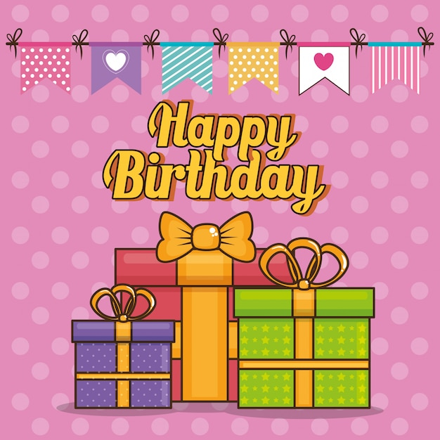 Happy birthday card with giftboxes Free Vector