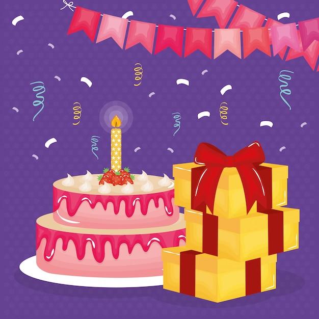 선물 및 케이크와 함께 생일 축 하 카드 프리미엄 벡터