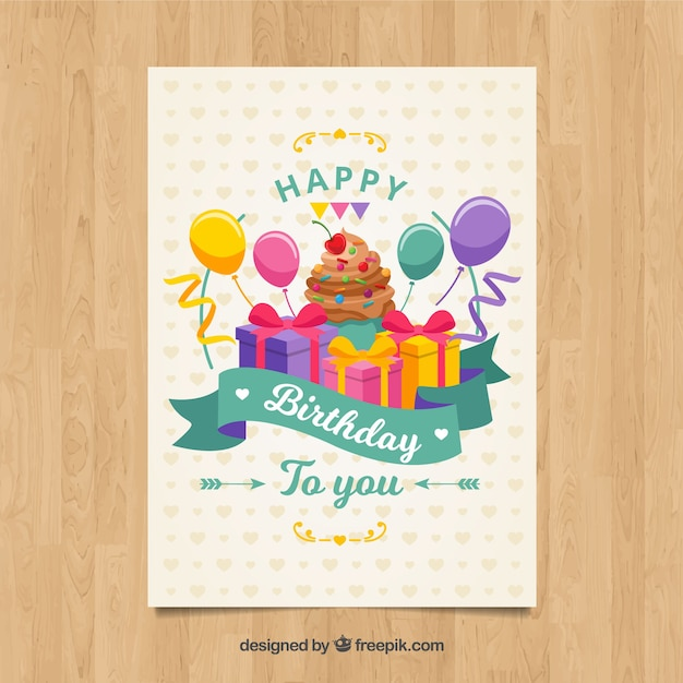Happy birthday card with gifts box and balloons\ in flat style