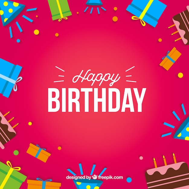 Happy Birthday Card With Gifts Box And Cakes Free Vector