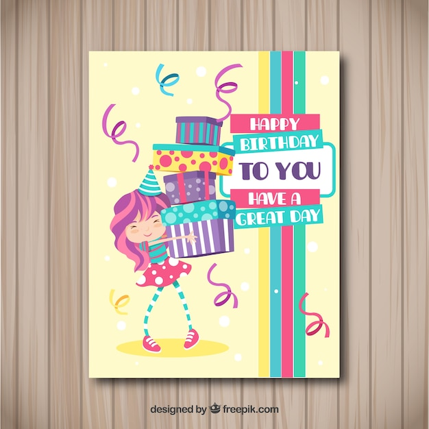 Happy birthday card with girl and presents in flat style Free Vector