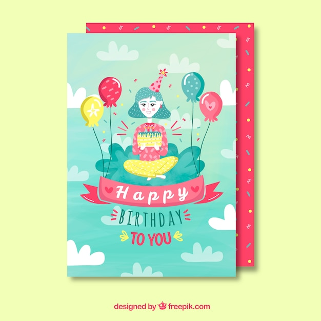 Happy birthday card with girl in flat\ style