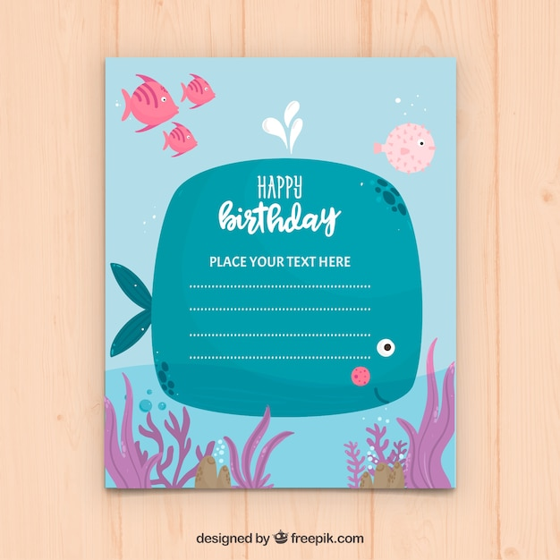 Happy birthday card with illustration