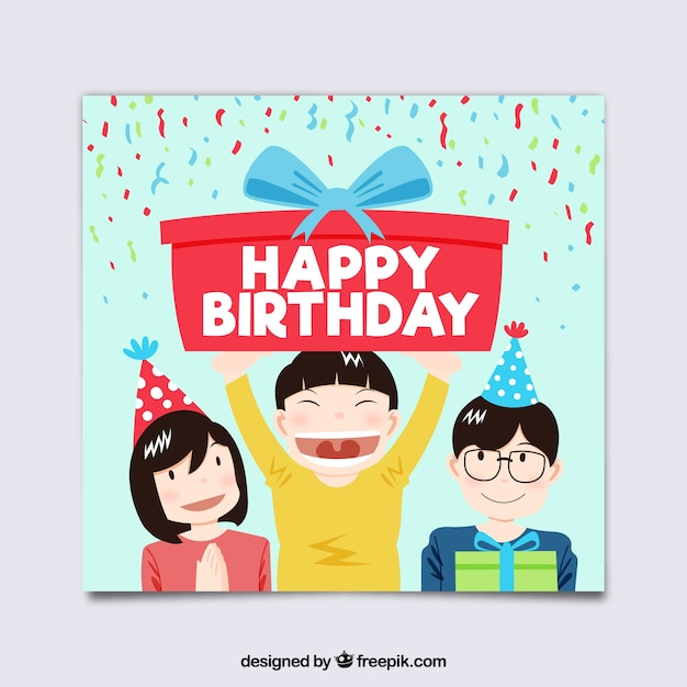 Happy Birthday Card With Kids In Flat Style Vector Free Download