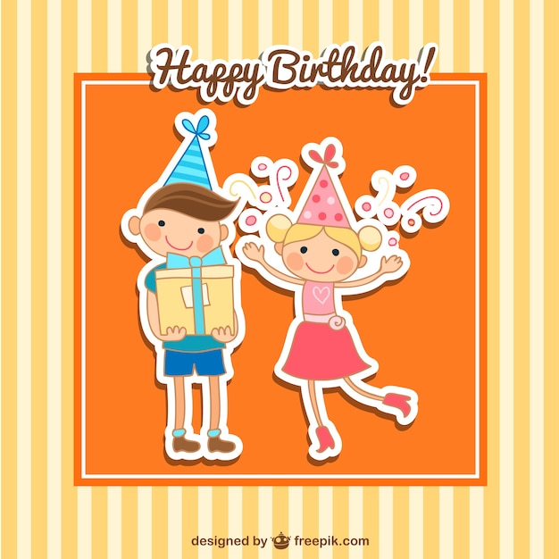 Happy birthday card with kids Vector – Happy Birthday Kids Cards