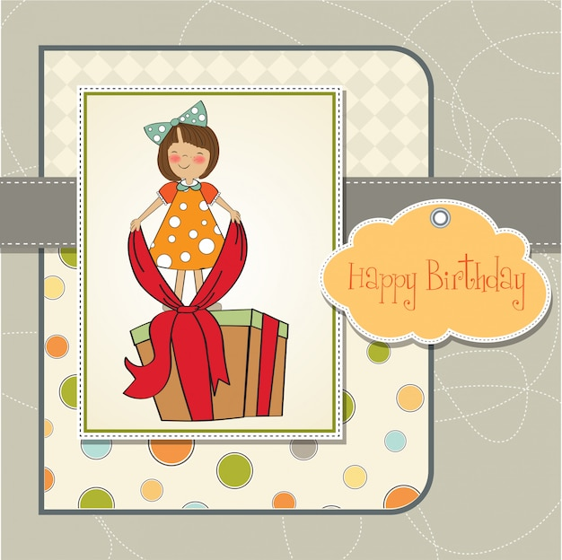 Happy Birthday Card With Little Girl And Big Gift Vector Premium