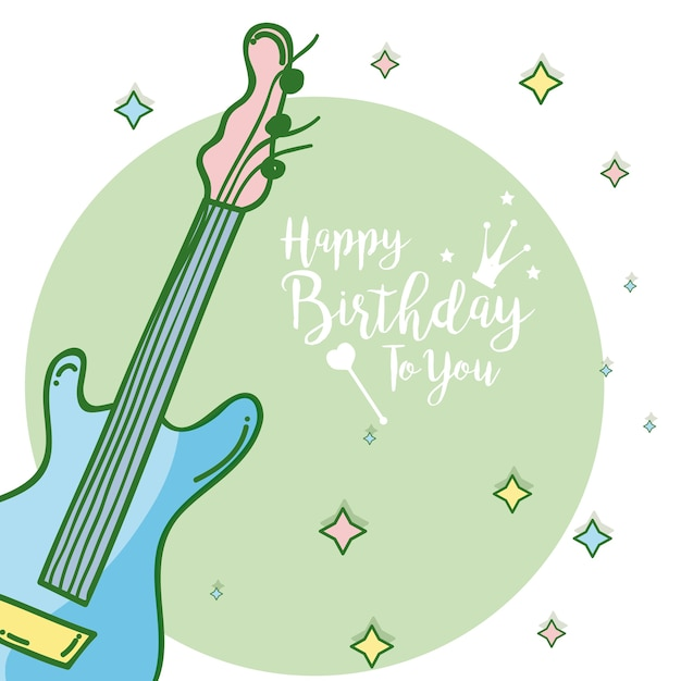 Happy Birthday Card With Music Instruments Premium Vector