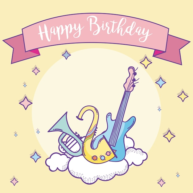 Happy Birthday Card With Music Instruments Vector Premium Download