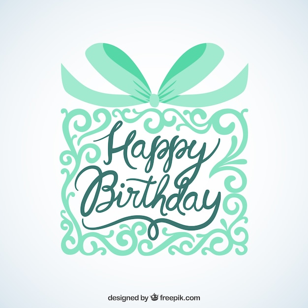 Happy birthday card with ornamental gift Vector – Birthday Card Gift
