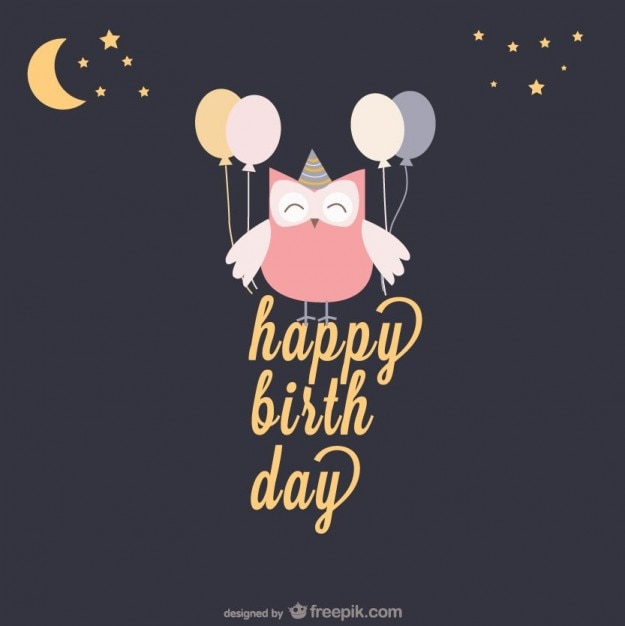 Happy Birthday Card With An Owl And Balloons Vector Free Download