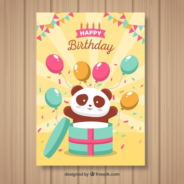 Happy birthday card with panda bear and balloons Free Vector