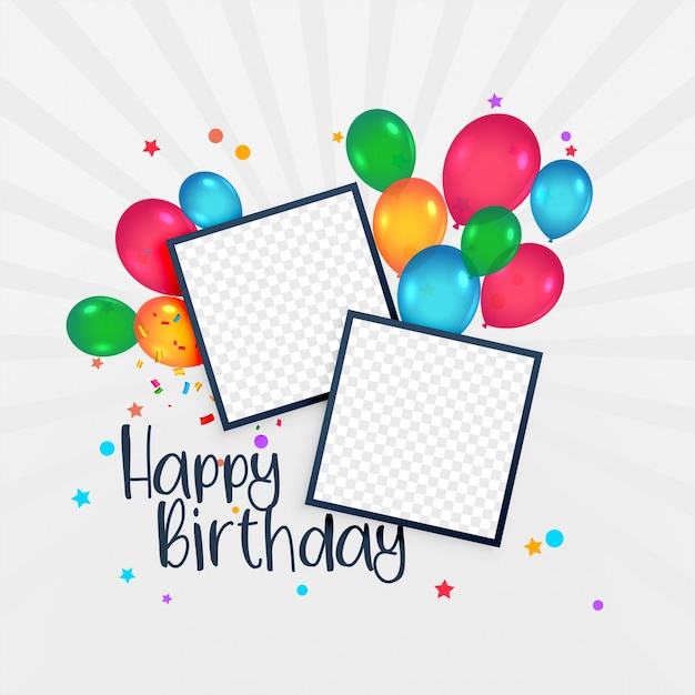 Happy Birthday Card With Photo Frame And Balloons Vector Premium