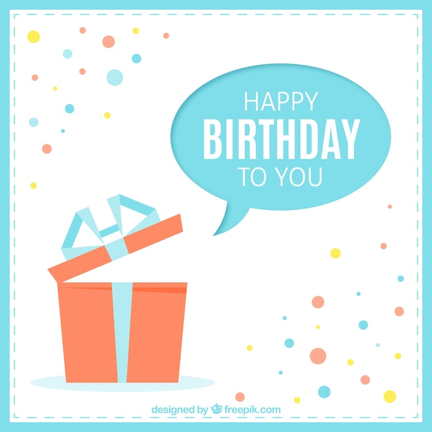 Happy Birthday Card With A Present Free Vector