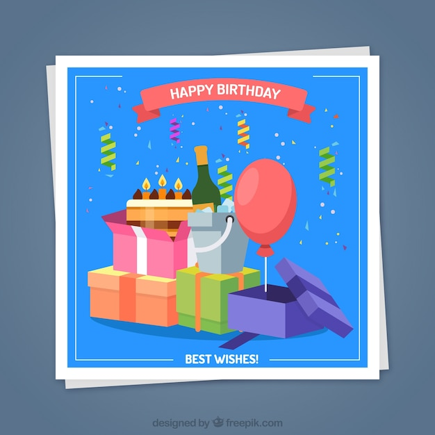 Happy birthday card with presents in flat style Free Vector