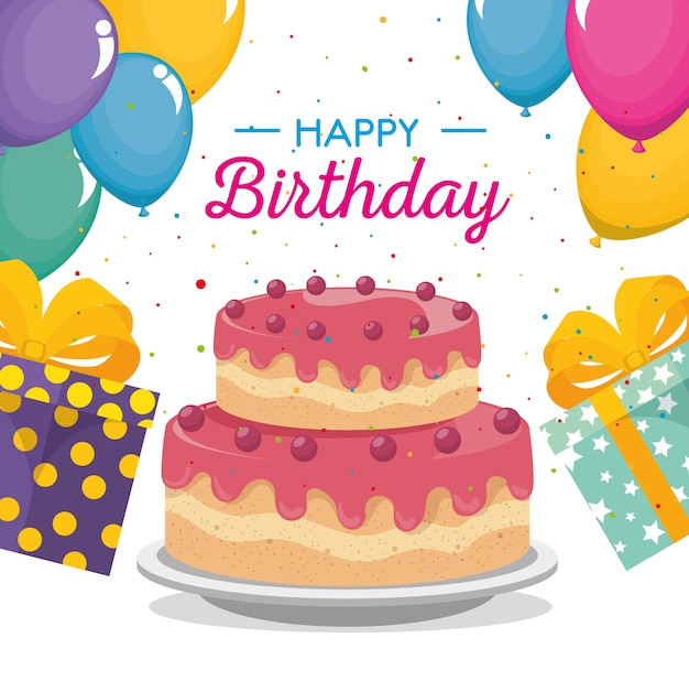 Happy Birthday Card With Sweet Cake And Gifts Vector Premium Download