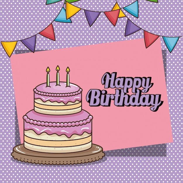 Happy birthday card with sweet cake Free Vector