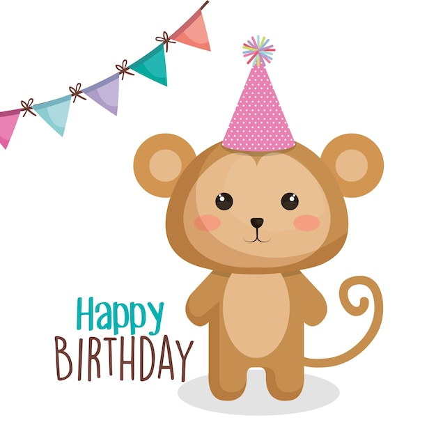 Happy Birthday Card With Tender Animal Vector Premium Download