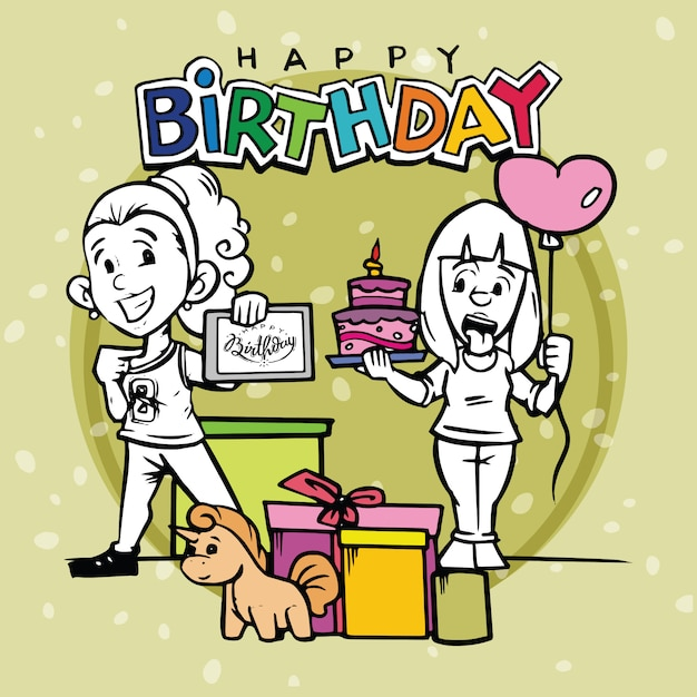 Happy Birthday Card With Two Girl Cartoon Character Vector