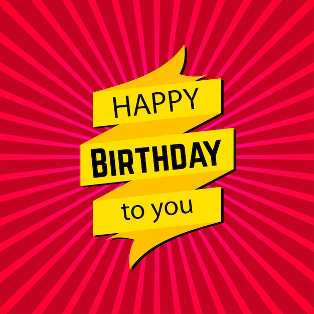Happy birthday card with typogrpahy vector Free Vector