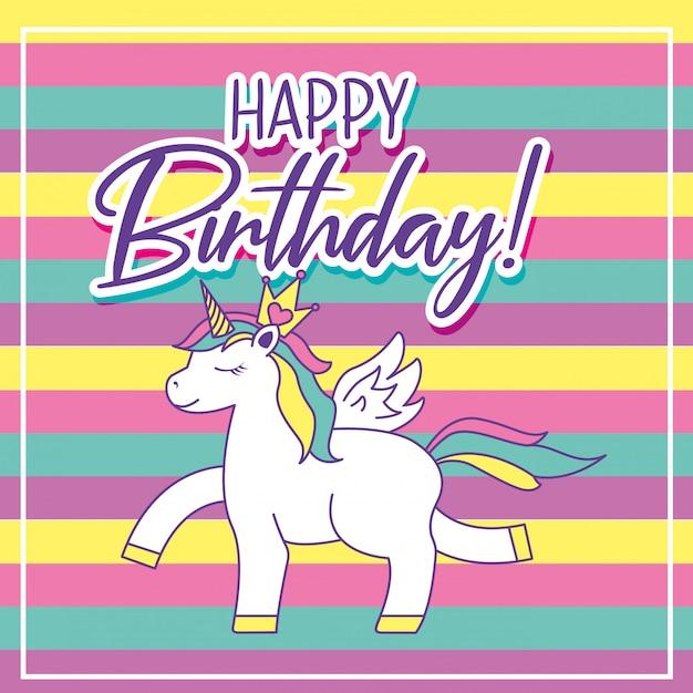 happy birthday card with unicorn vector  premium download