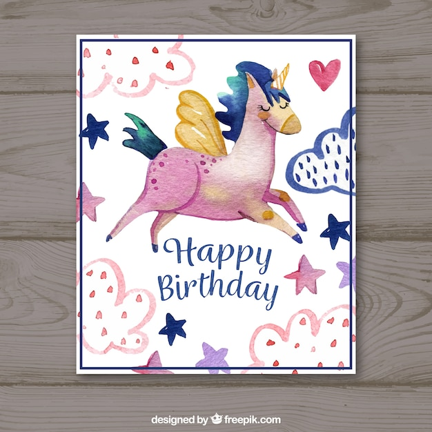 Happy birthday card with watercolor unicorn