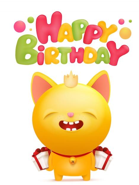 Happy birthday card with yellow emoji cat character ...