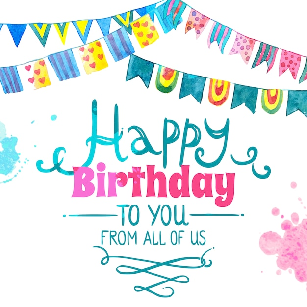 Happy birthday card Free Vector