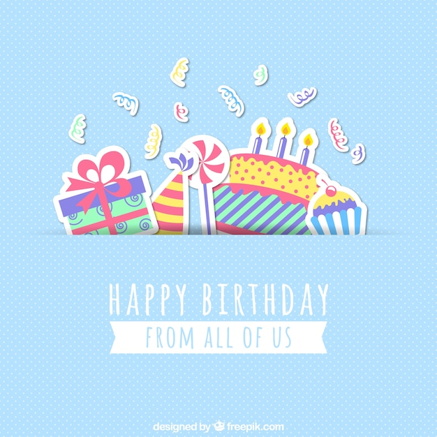 Great Happy Birthday Card Free Vector Within Happy Birthday Card Template Free Download