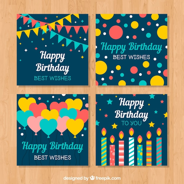 Happy birthday cards collection in flat\ style