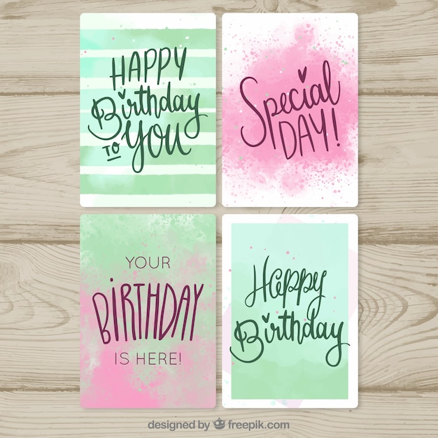 Happy birthday cards collection in watercolor\ style
