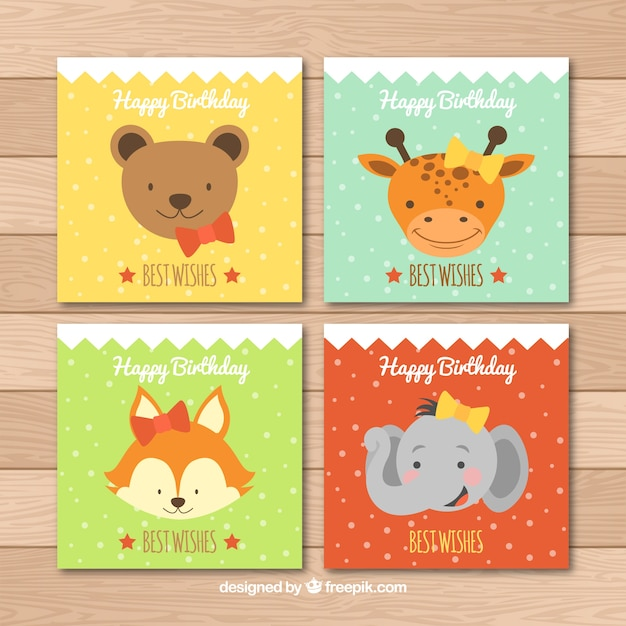 Happy birthday cards collection with\ animals