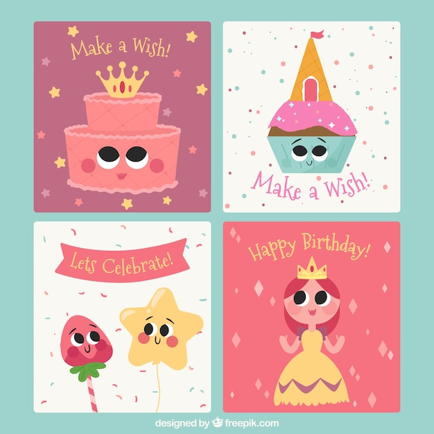 Happy birthday cards collection with cute\ illustrations