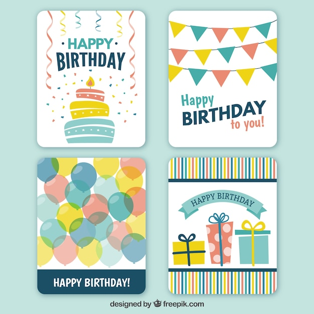 Happy birthday cards collection Vector – Birthday Card Collection