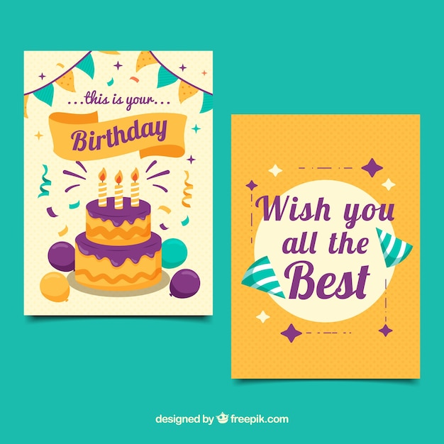 Happy birthday cards in flat design Free Vector