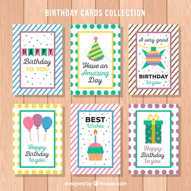 Happy Birthday Cards Pack With Elements Vector Free Download