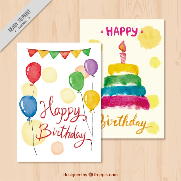 Happy birthday cards with cake and watercolor\ balloons