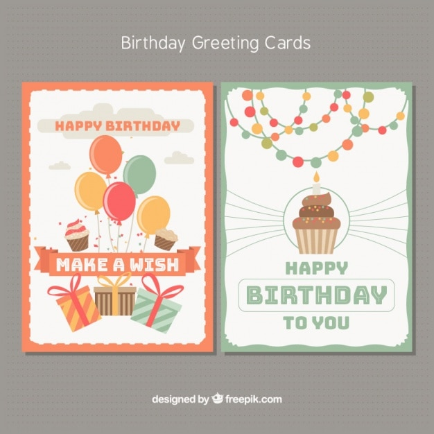 Happy birthday cards with party elements Premium Vector