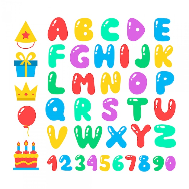Happy birthday cartoon alphabet set. air balloons font. birthday icon set. flat  elements, figures and letters for celebration . isolated on white Premium Vector