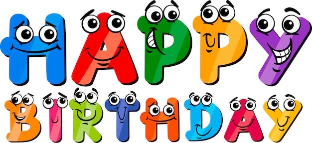 Happy Birthday Cartoon Sign Premium Vector