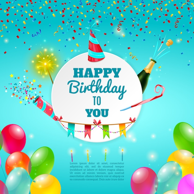 happy birthday celebration background poster vector free download