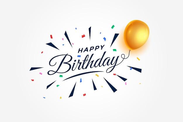 С днем рождения праздник фон с воздушными шарами и конфетти Бесплатные векторы