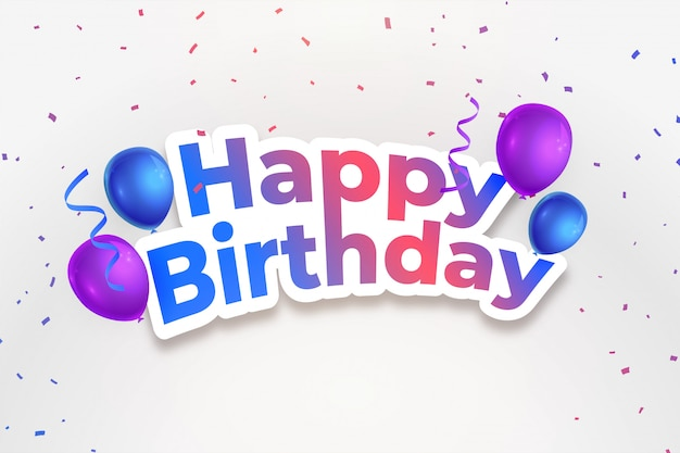 Happy birthday celebration background with falling confetti Free Vector