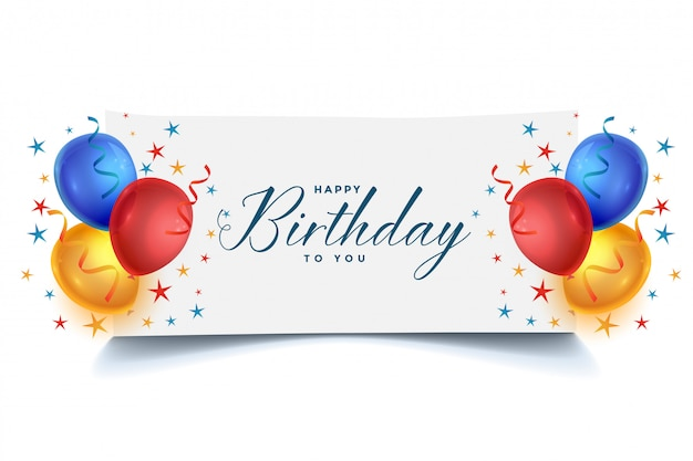 Happy birthday celebration balloons card design Free Vector