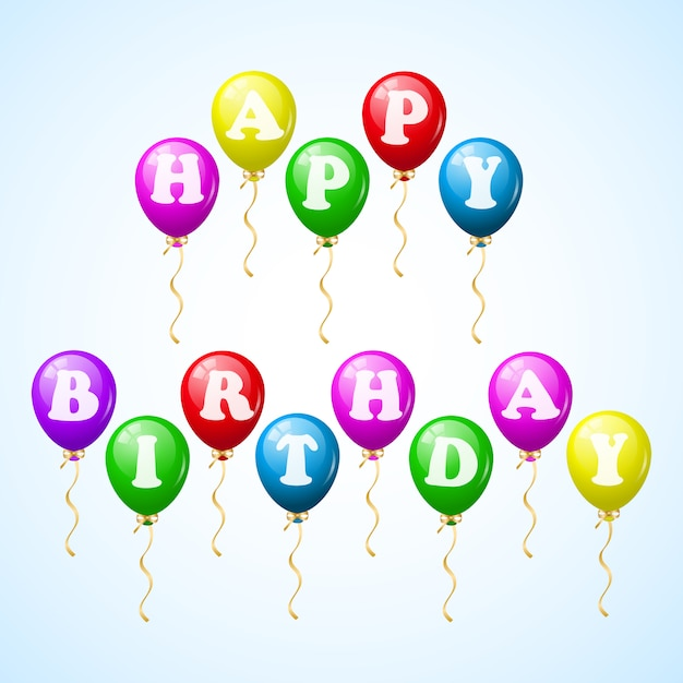 Happy birthday celebration balloons Free Vector