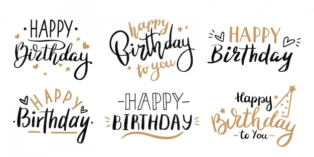 Happy birthday celebration concept. greeting birthday party lettering with celebration hand drawn e