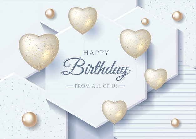 Happy birthday celebration greeting card Premium Vector