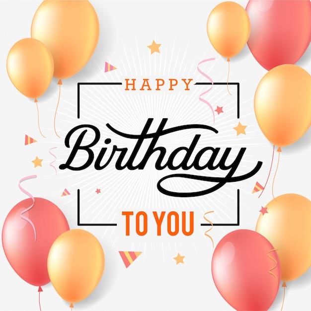 С днем рождения праздник типография с воздушными шарами и падающим конфетти Premium векторы
